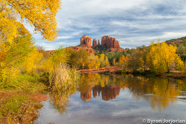 Reflections in Oak Creek at Red Rock crossing and Cathedral Rock